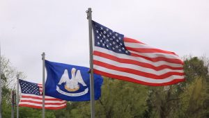 Louisiana state flag flying with 2 American flags