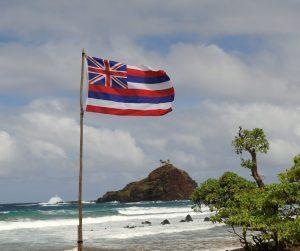 Hawaii state flag flying