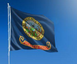 Idaho state flag flying