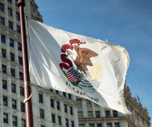 Illinois state flag flying