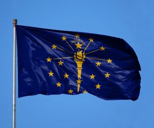 Indiana state flag flying