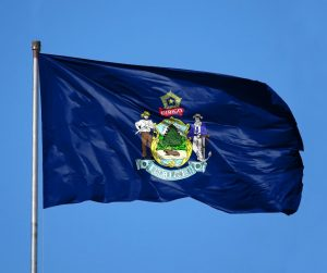 Maine state flag flying
