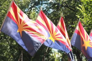 Arizona state flags flying