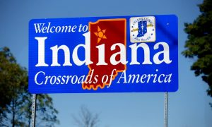 Entering Indiana sign