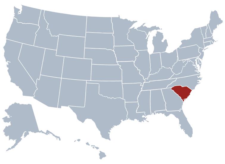 South Carolina on a map