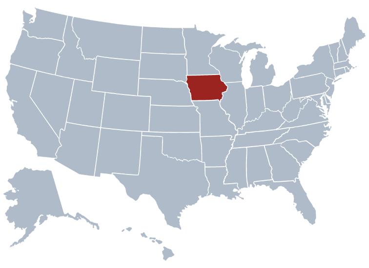 Iowa on a US map