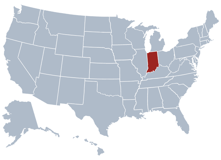 Indiana on a US map