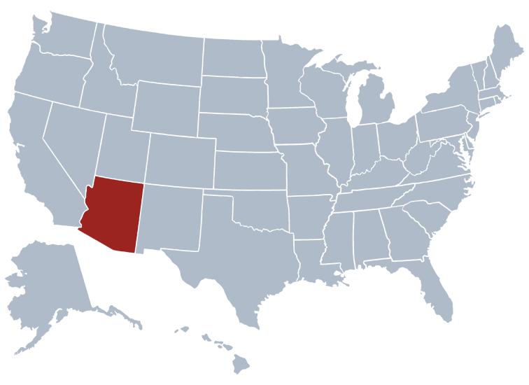 Arizona on the US map