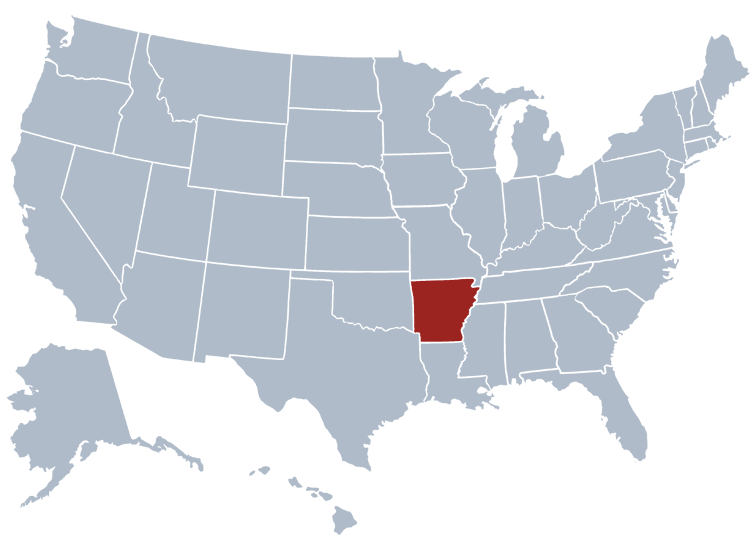 Location of Arkansas on the US map