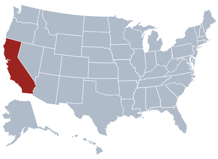 Location of California on a US map