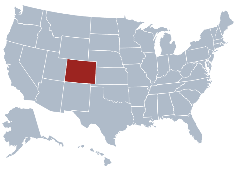 Colorado on a US map