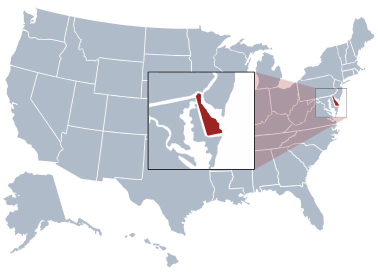 Location of Delaware on a a map