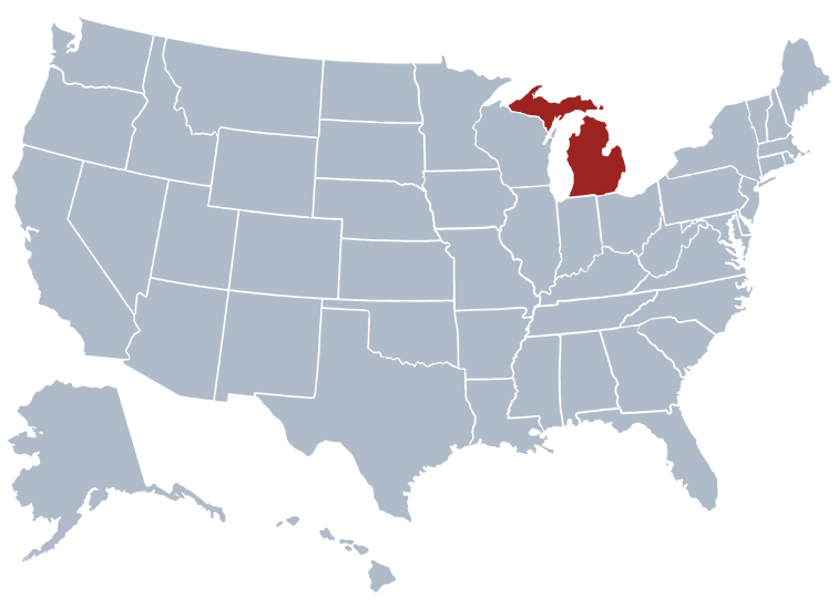 michigan on a US map
