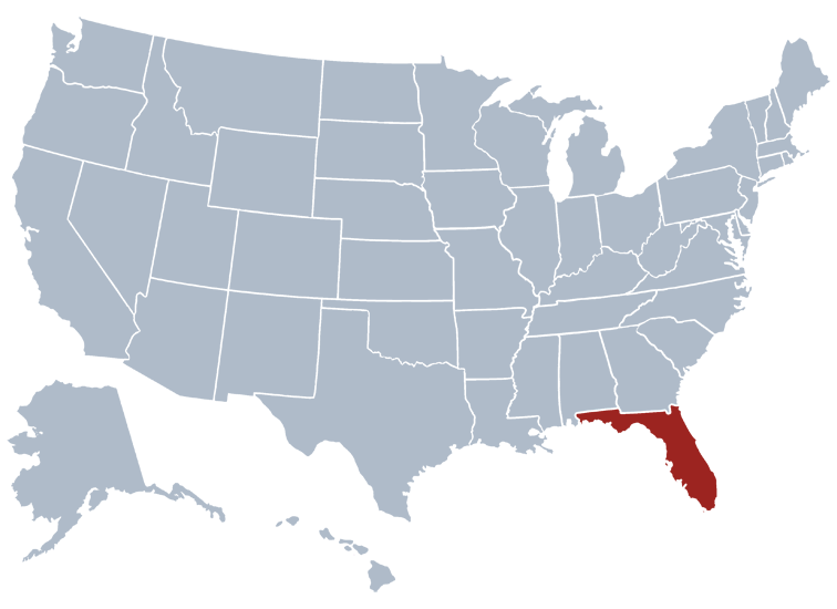 Location of Florida on a map