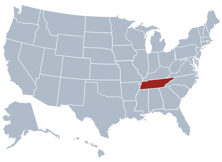 Tennessee on a map