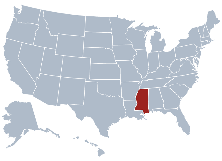 Mississippi on a US map
