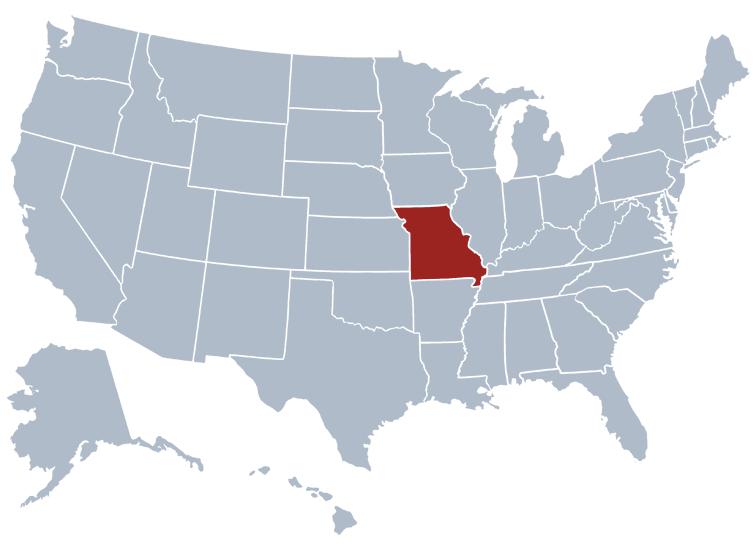 Missouri on a map