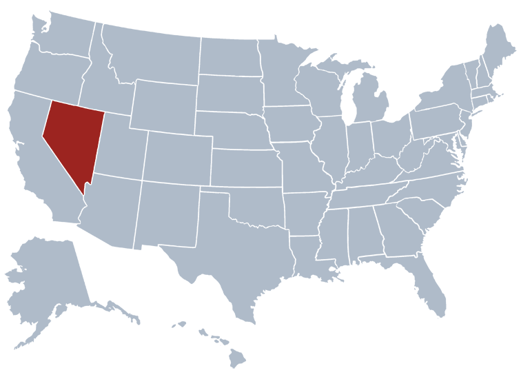 Nevada on a US map
