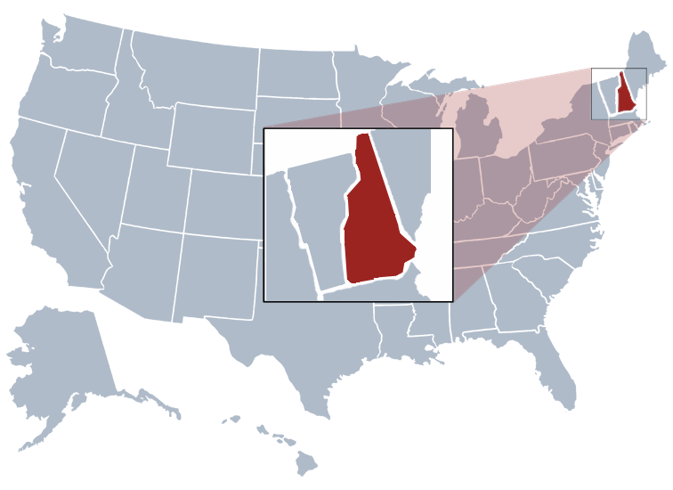 New Hampshire on a US map