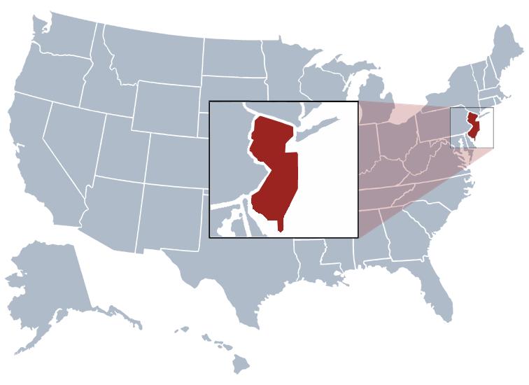 NJ on a US map