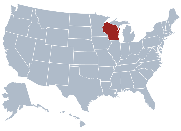 Wisconsin on a map