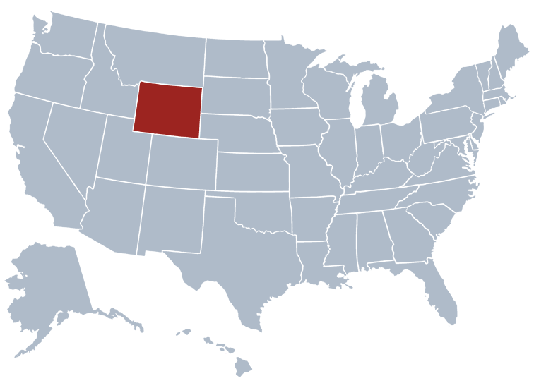 Wyoming on a map