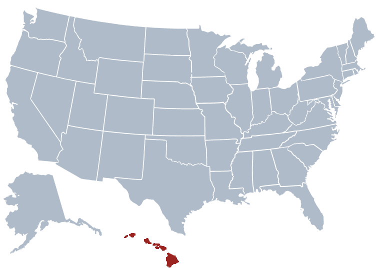 Hawaii on a map