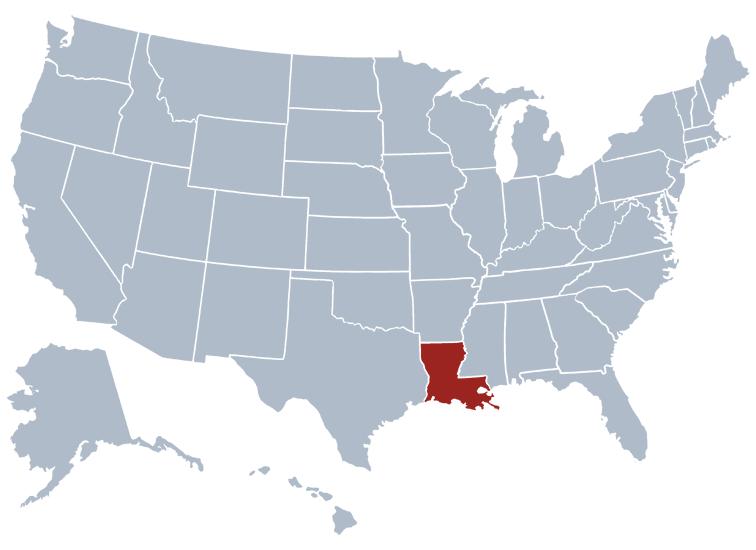 Louisiana on a map