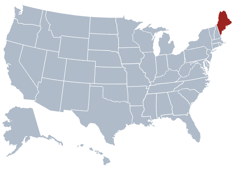 Maine on a map