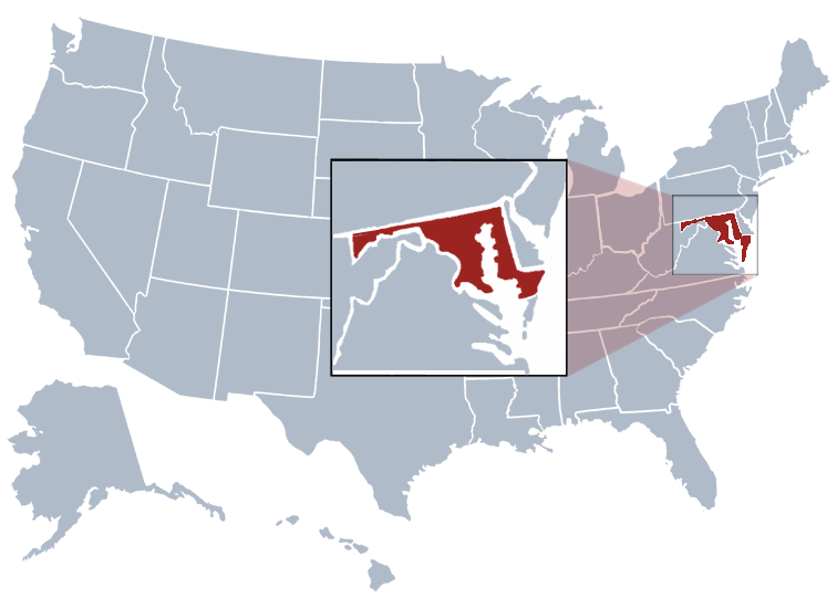 Maryland on a map
