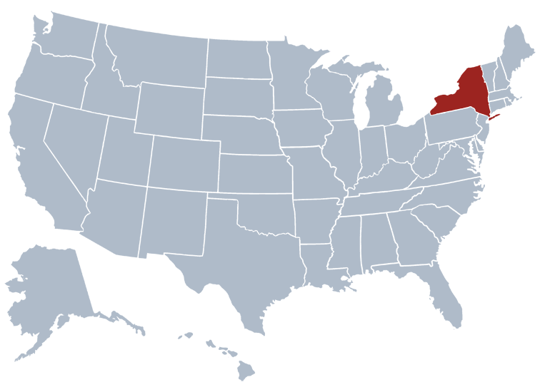 New York state on a map