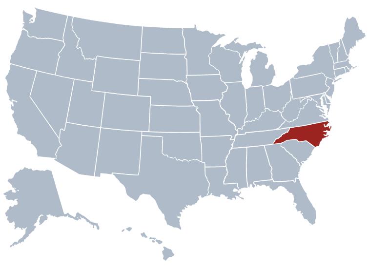north Carolina on a state map