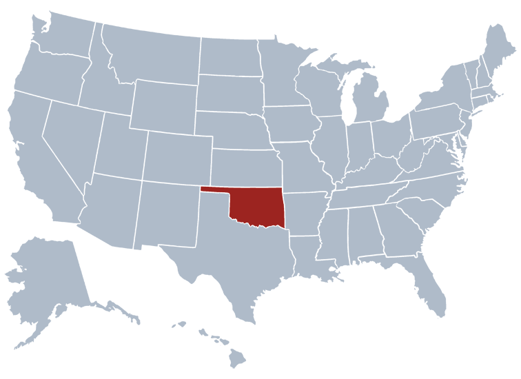 Oklahoma on a US map