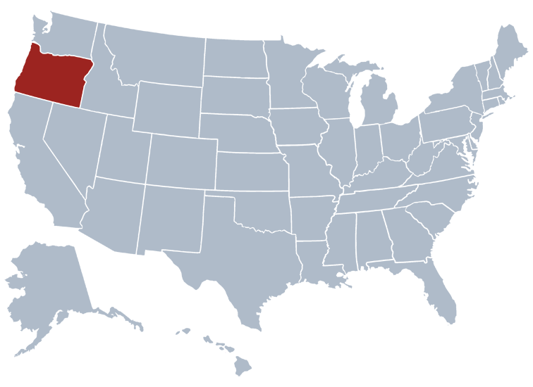 Oregon on a US map