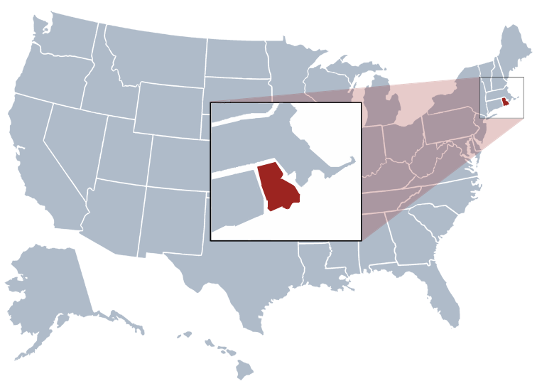 Rhode Island on a map