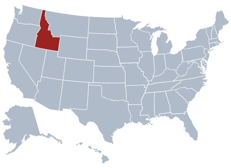 Location of Idaho on a map