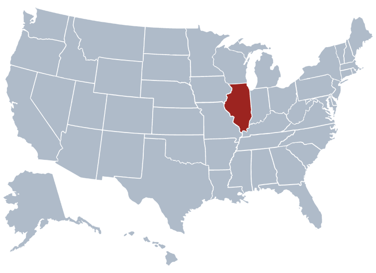 Illinois state location on a map