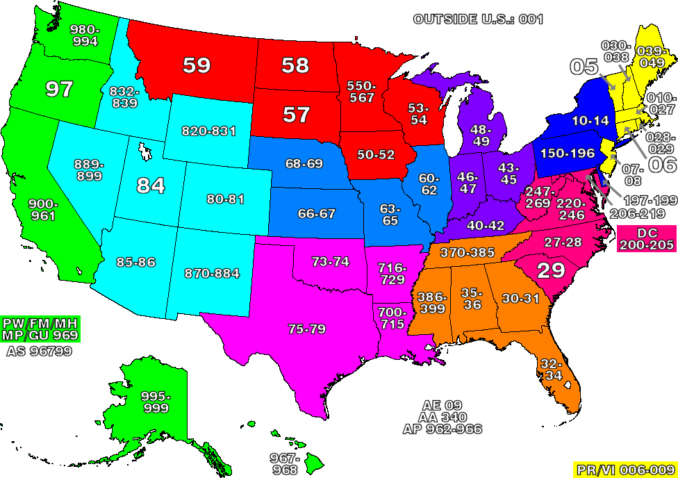 ZIP code map of the United States