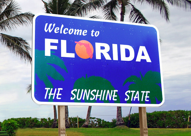 Florida state nickname sign The Sunshine State